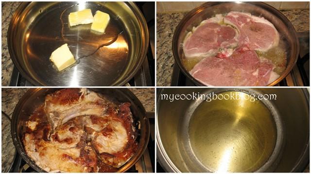 Свински пържоли с винен сос