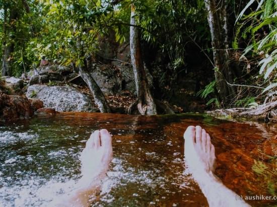 In the spa - Rocky Falls campsite - Walker Creek - Litchfield National Park