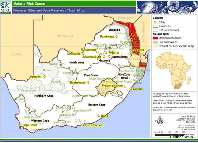Malaria Risk Zones in South Africa