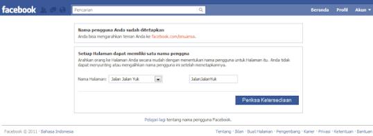 Username Facebook Page