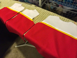 Back and front pieces sewn together for Paw Patrol vest.