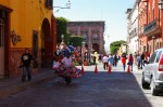 Central square (Jardin Allende) closed for traffic during Day of the Dead (Dia de los Muertos) celebrations in San Miguel de Allende, Mexico. View form San Francisco street towards Jardin Allende.