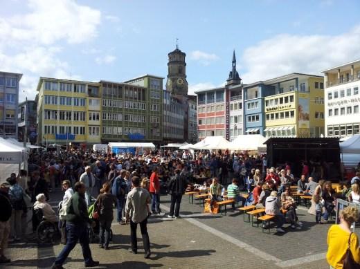 Bild vom Blick auf den Marktplatz gegen 17 Uhr