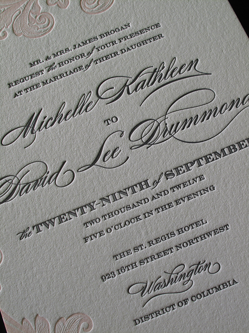 Shiny And Ali Letterpress Wedding Invitations