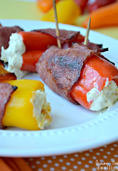 Bacon-wrapped mini pepper poppers from Or So She Says via Lemon Tree Dwelling