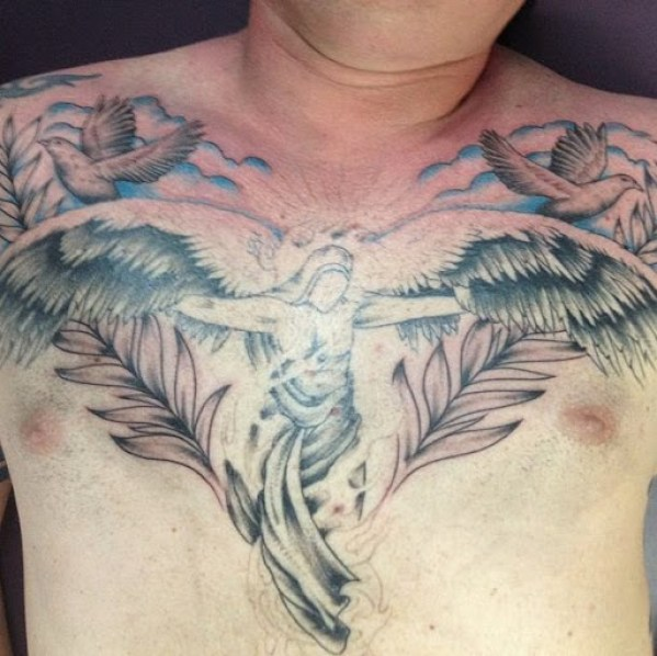 angel with wings Chest Tattoos for men