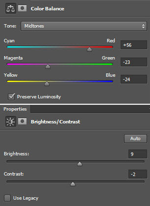 Layer > New Adjustment layer > color balance