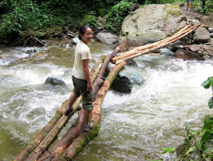 One of the many river crossings in Valle de Cocora towards Acamai