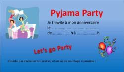 carte d anniversaire soiree pyjama