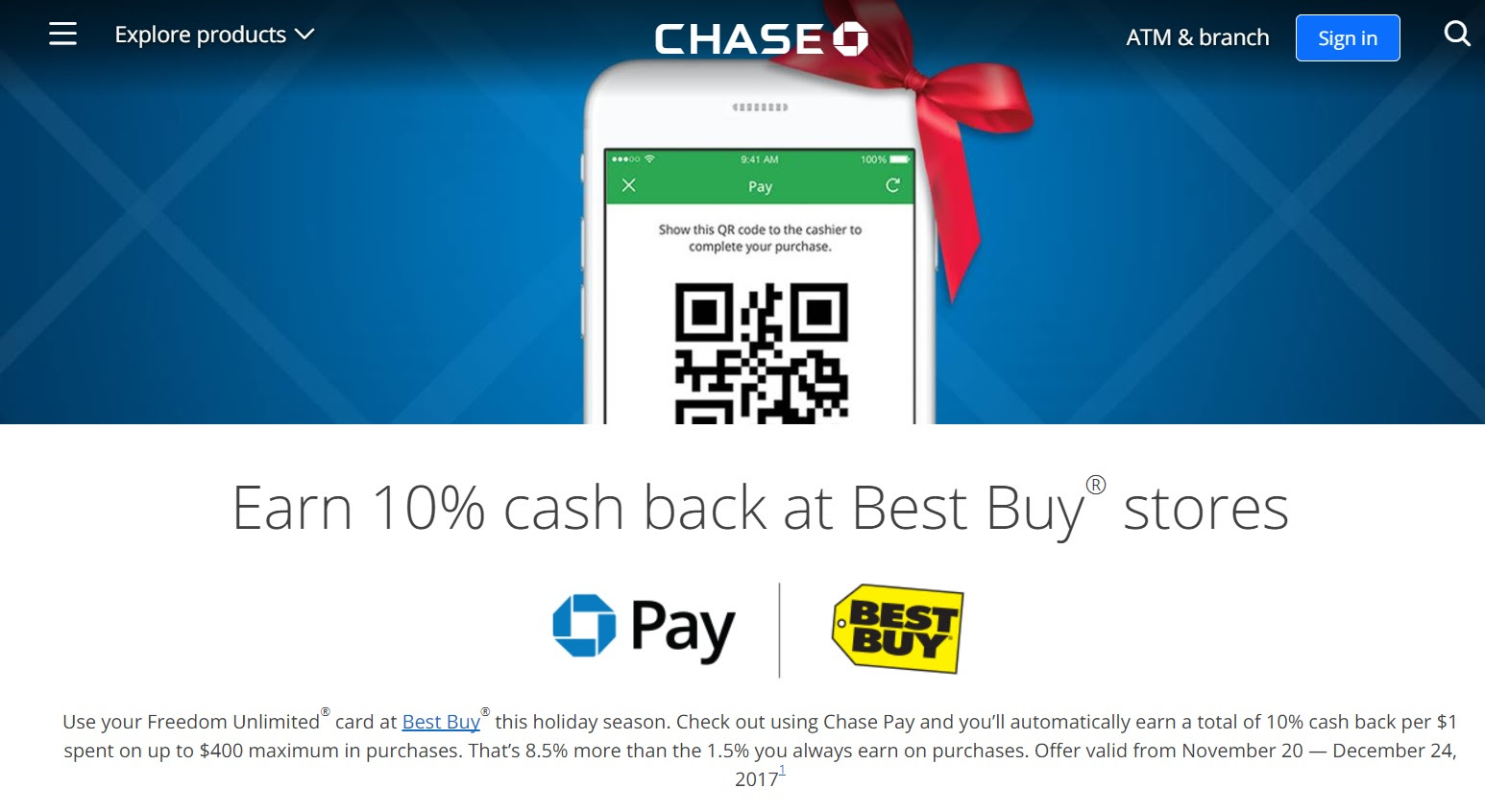Get 10% back at best buy, up to $30 max cashback. Chase Freedom