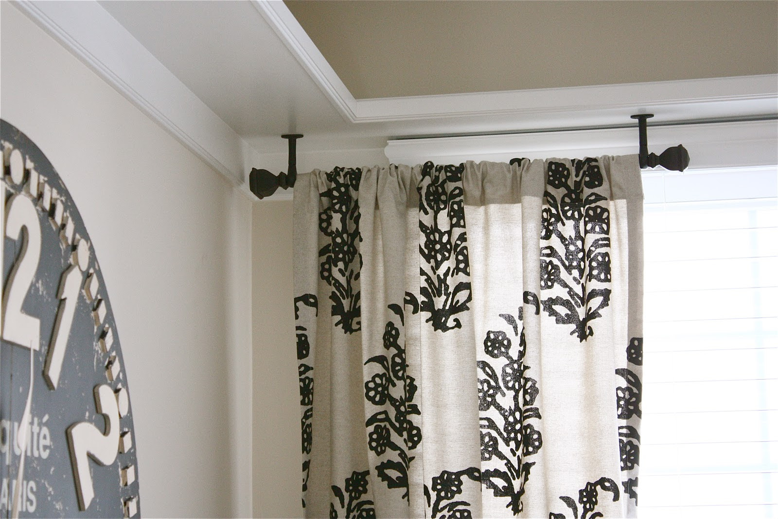 how to hang curtains from the ceiling