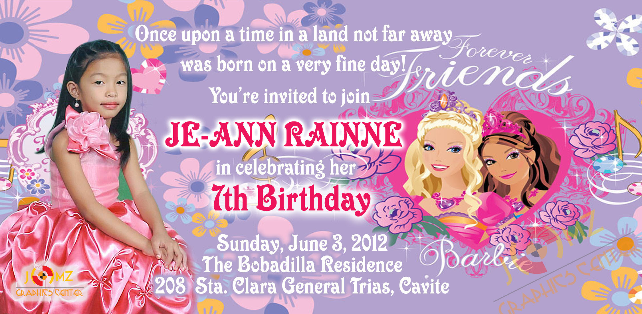 7th birthday barbie invitation card