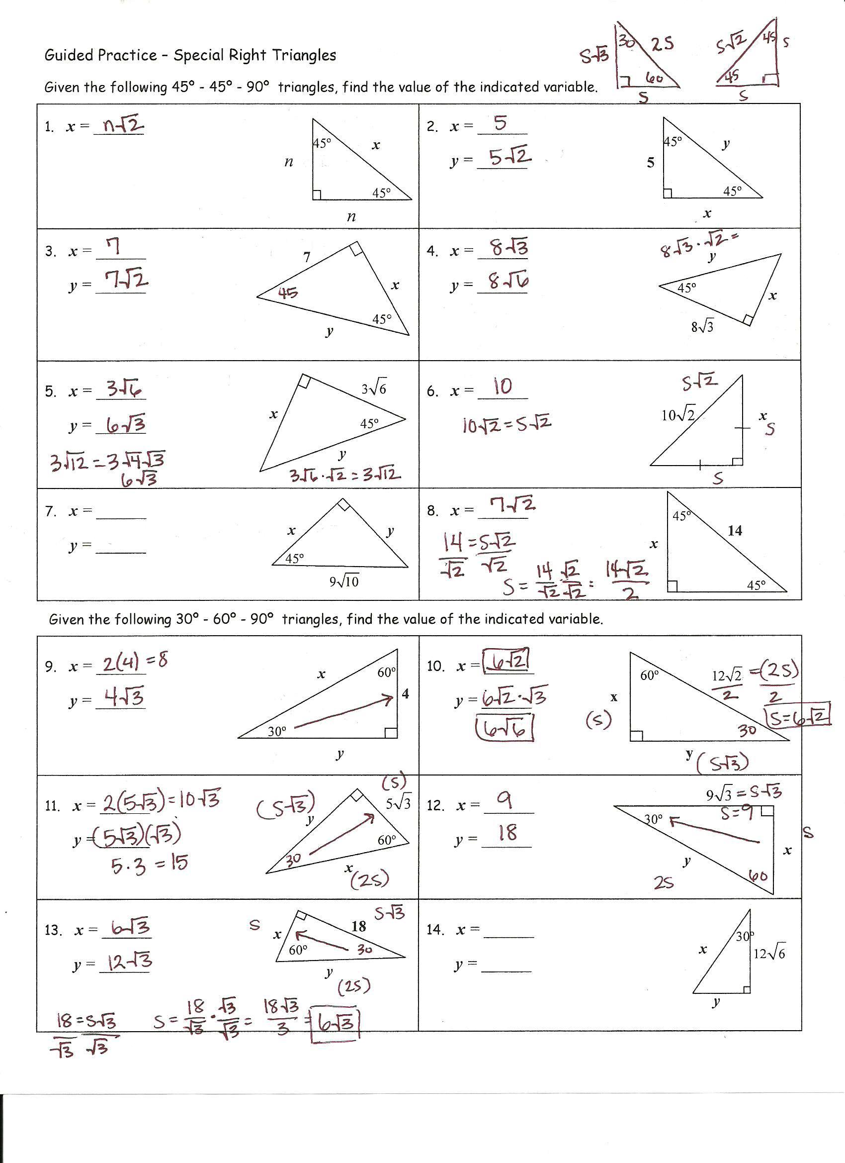 Worksheets Special Right Triangles 30 60 90 Worksheet Answers worksheets special right triangles 30 60 90 worksheet answers and trigonometry free worksheets