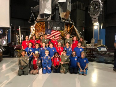 The Space Camp Class of 2019 poses in front of a United States Rocket at the U.S. Space and Rocket Center in Huntsville, AL.