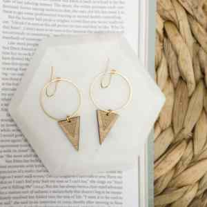bamboo triangle hoop earrings
