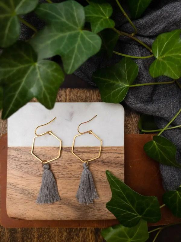 hexagon hoop gray tassel earrings