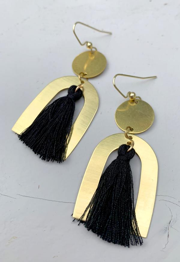 bamboo arch earrings with black tassel