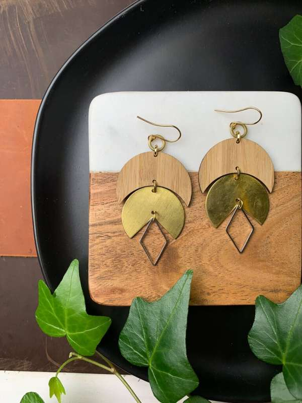 brass and bamboo moon and silver diamond earrings with gold plated hooks