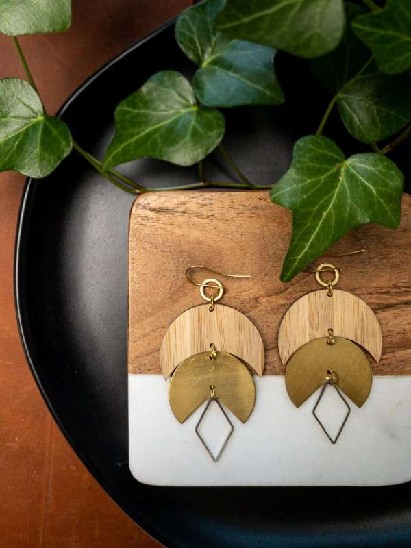 brass and bamboo moon earrings with gold plated hooks