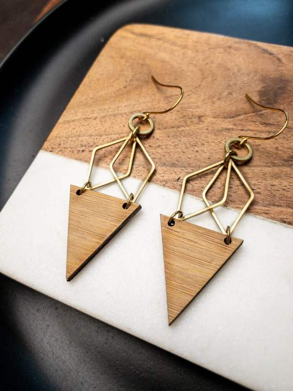 brass and bamboo triangle cross over hoop earrings with gold plated hooks