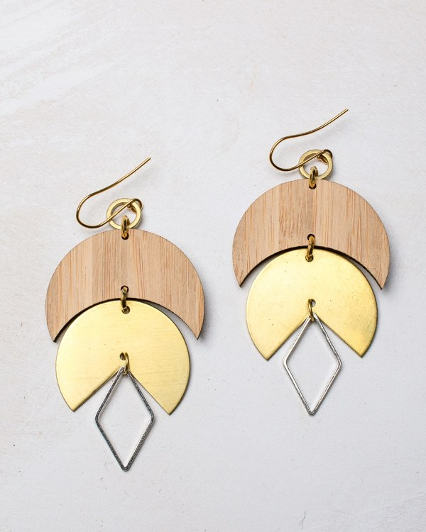 brass and bamboo earrings with gold plated hooks