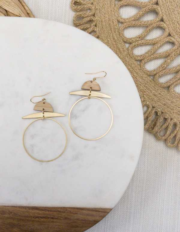 brass and bamboo hoop earrings