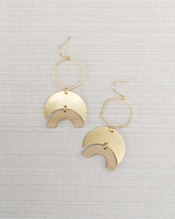 brass and bamboo hexagon earrings