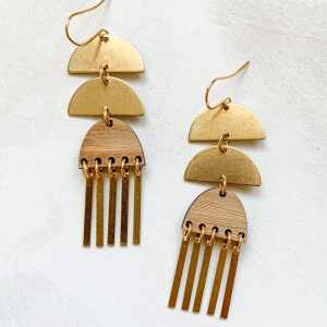 brass and bamboo fringe earrings with gold plated hooks