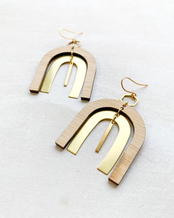 bamboo and brass earrings with gold plated hooks