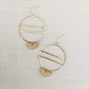 brass and bamboo half circle hoop earrings