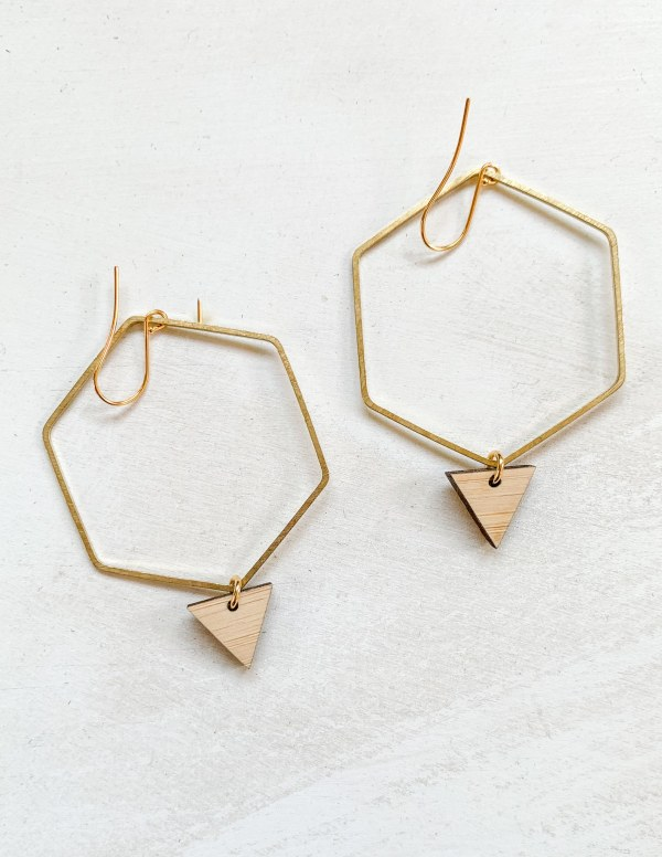 bamboo and brass hexagon hoop earrings with gold plated hooks
