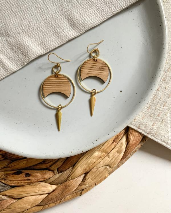 brass and bamboo striped crescent hoops