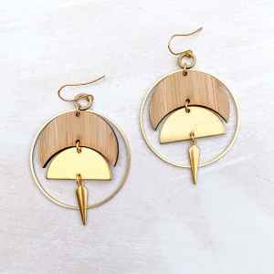 brass and bamboo moon hoop earrings