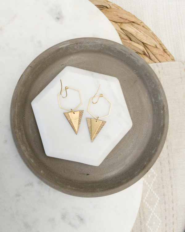 brass and bamboo hexagon hoop earrings with triangle