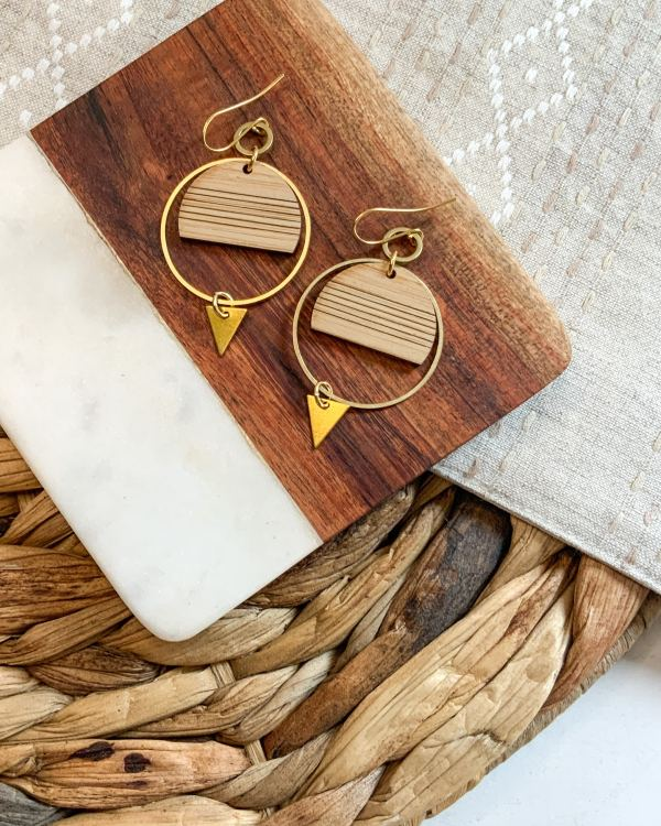 Brass + Bamboo Striped Crescent Hoops
