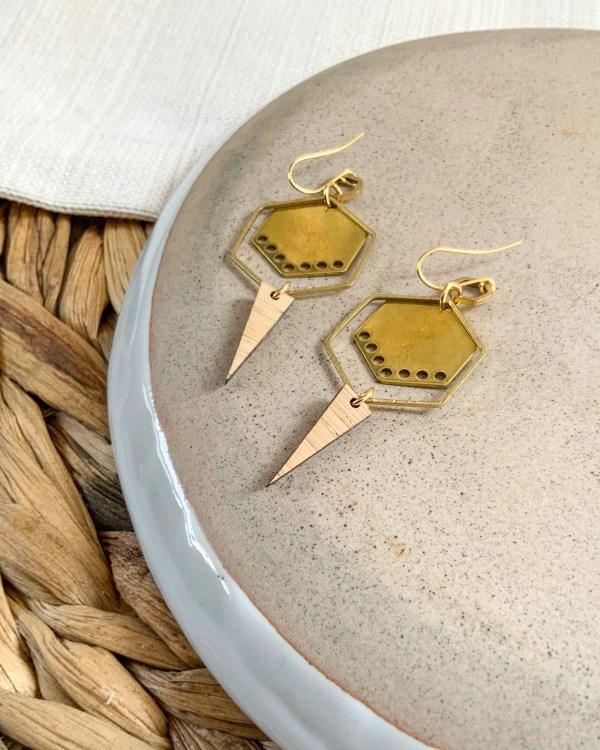Brass and bamboo hexagon hoops