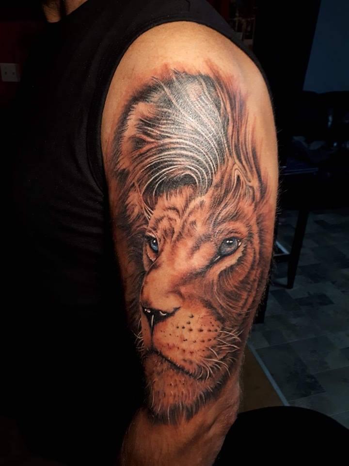 tatouage tête de lion