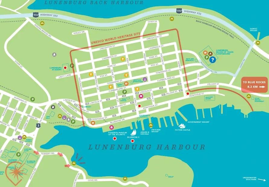 carte centre ville Lunenburg