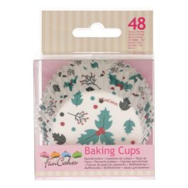 Caissettes à cupcakes feuilles de houx – 48 pcs – Fun Cakes