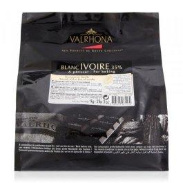 Chocolat blanc IVOIRE 35% fève 1kg – Valrhona