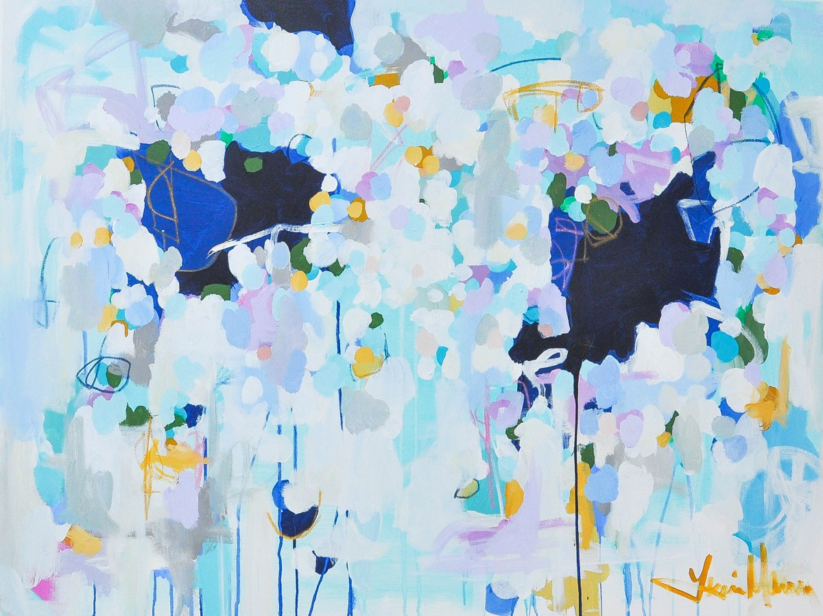 Light and dark blues are punctuated by yellows and whites in this large abstract painting by DC artist Lanie Mann