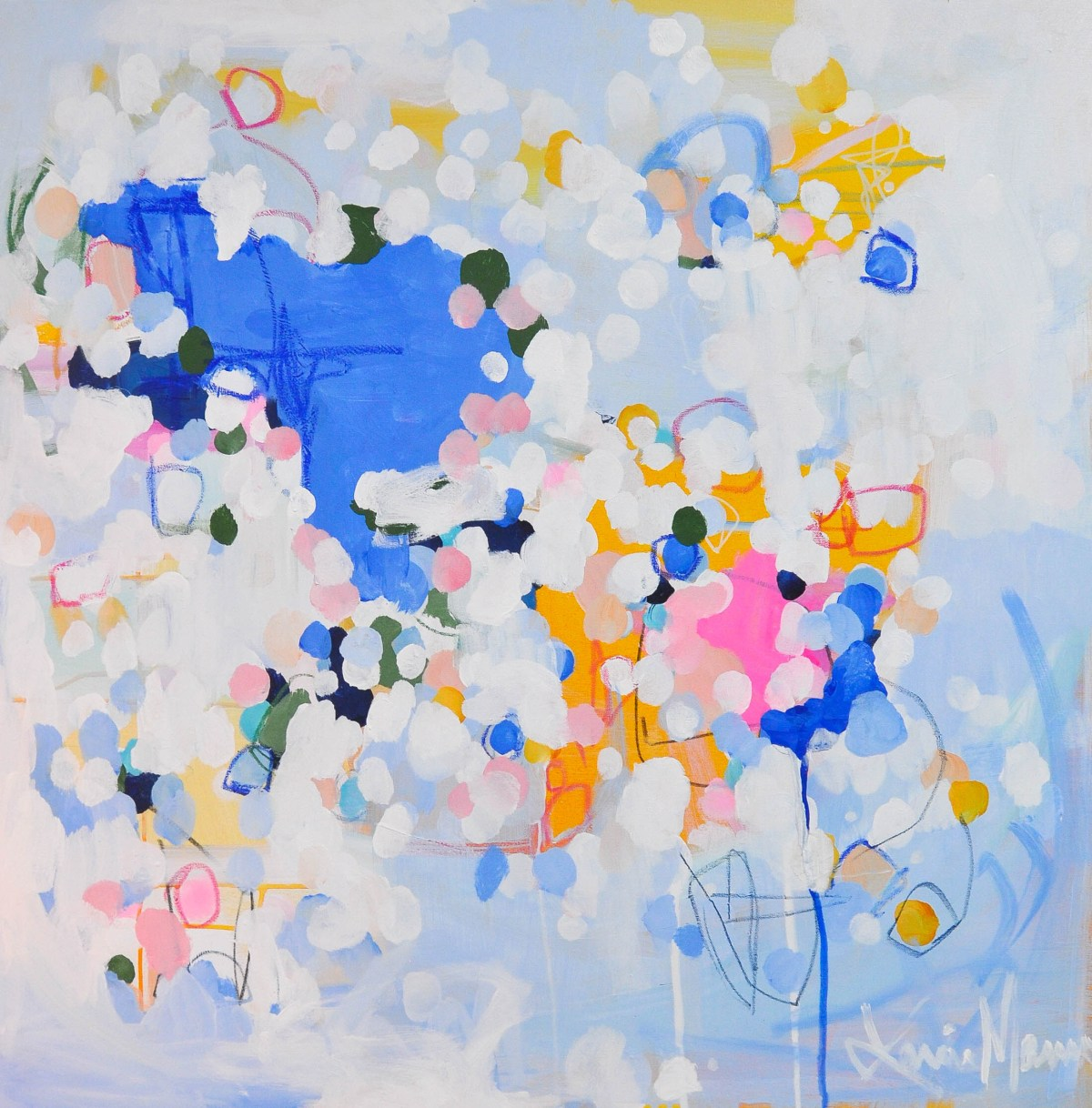 An abstract painting by DC artist Lanie Mann feels like spring eternal, as if you're looking up at the blue sky through a spray of fluttering cherry blossom petals.