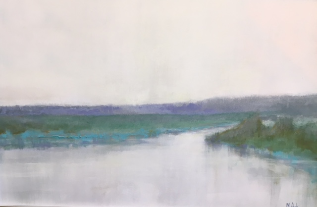 Abstracted landscape painting uses soft blue-green tones to reveal a marshy waterway leading off into the horizon.