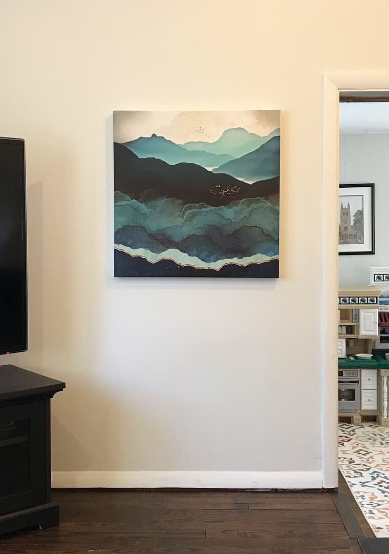Family Room Gets Stunning Modern Artwork in the New Year