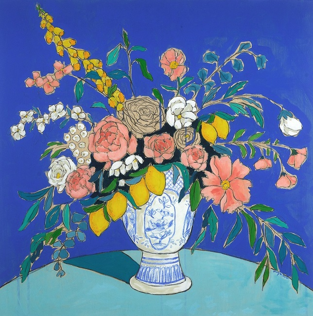 A modern expressionist still life composition that showcases a floral arrangement with pinks and yellows against a vivid blue background.