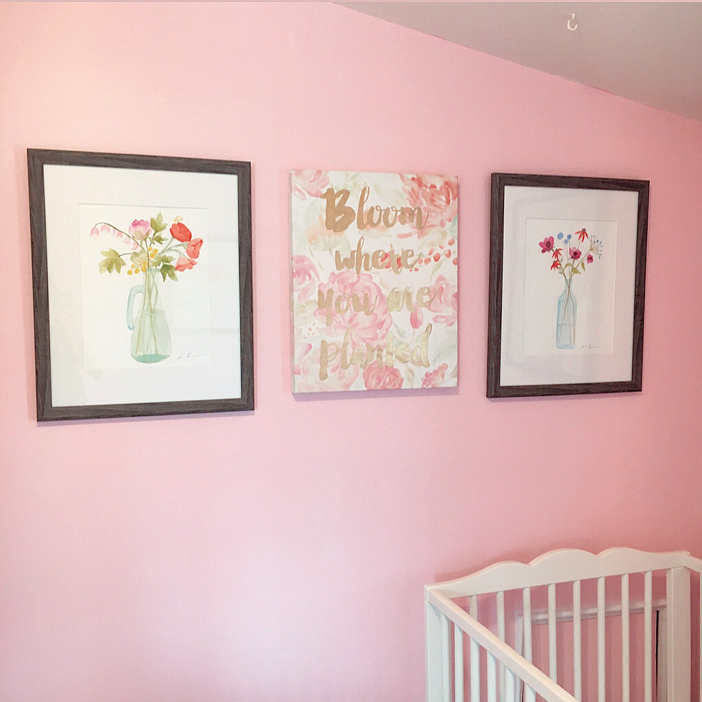 Pink Wall with Framed Flowers and A Quote Flower Canvas
