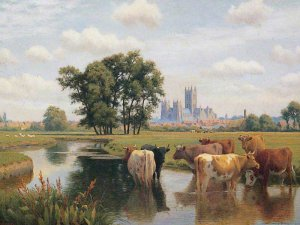 Nineteenth centure landscape painting of the marshes showing Canterbury Cathedral in the background and cattle grazing in the foreground
