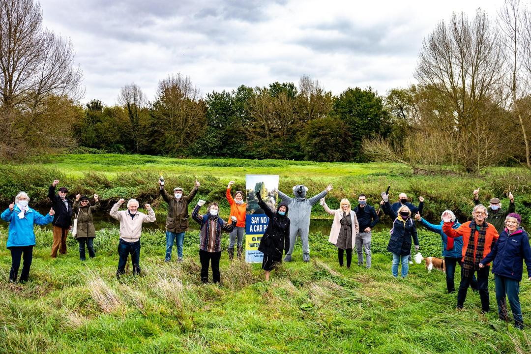 Supporters of the Save Wincheap Water Meadows campaign celebrate news that the Wincheap Park and Ride extension planning application has been withdrawn