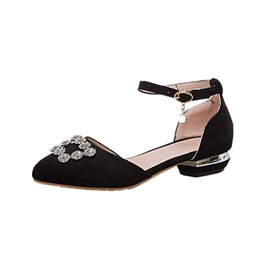 Women's PU(Polyurethane) Spring & Summer Sweet / Preppy Sandals Low Heel Pointed Toe Sparkling Glitter Black / Pink / Wedding / Party & Evening