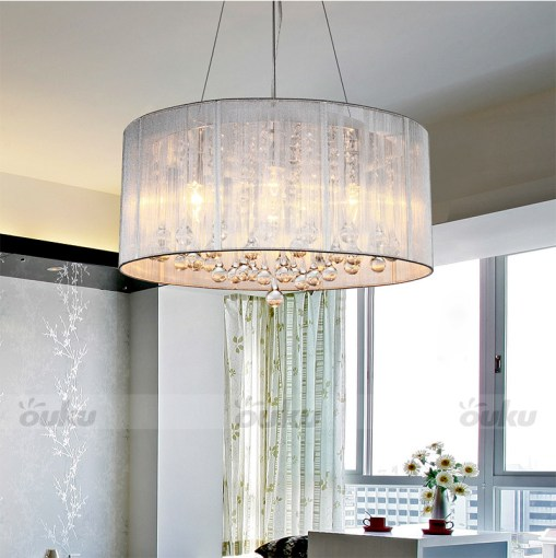 Modern Drum Pendant Lamp Light Chandelier Crystal Fabric Ceiling     Modern Drum Pendant Lamp Light Chandelier Crystal Fabric Ceiling Cylinder    eBay